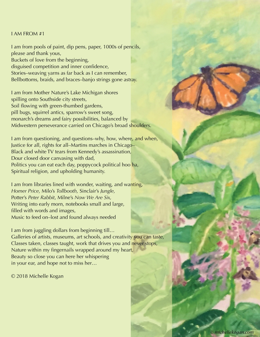 1-I am from poem and monarch milkweed art-Michelle-Kogan- 9-19-2018